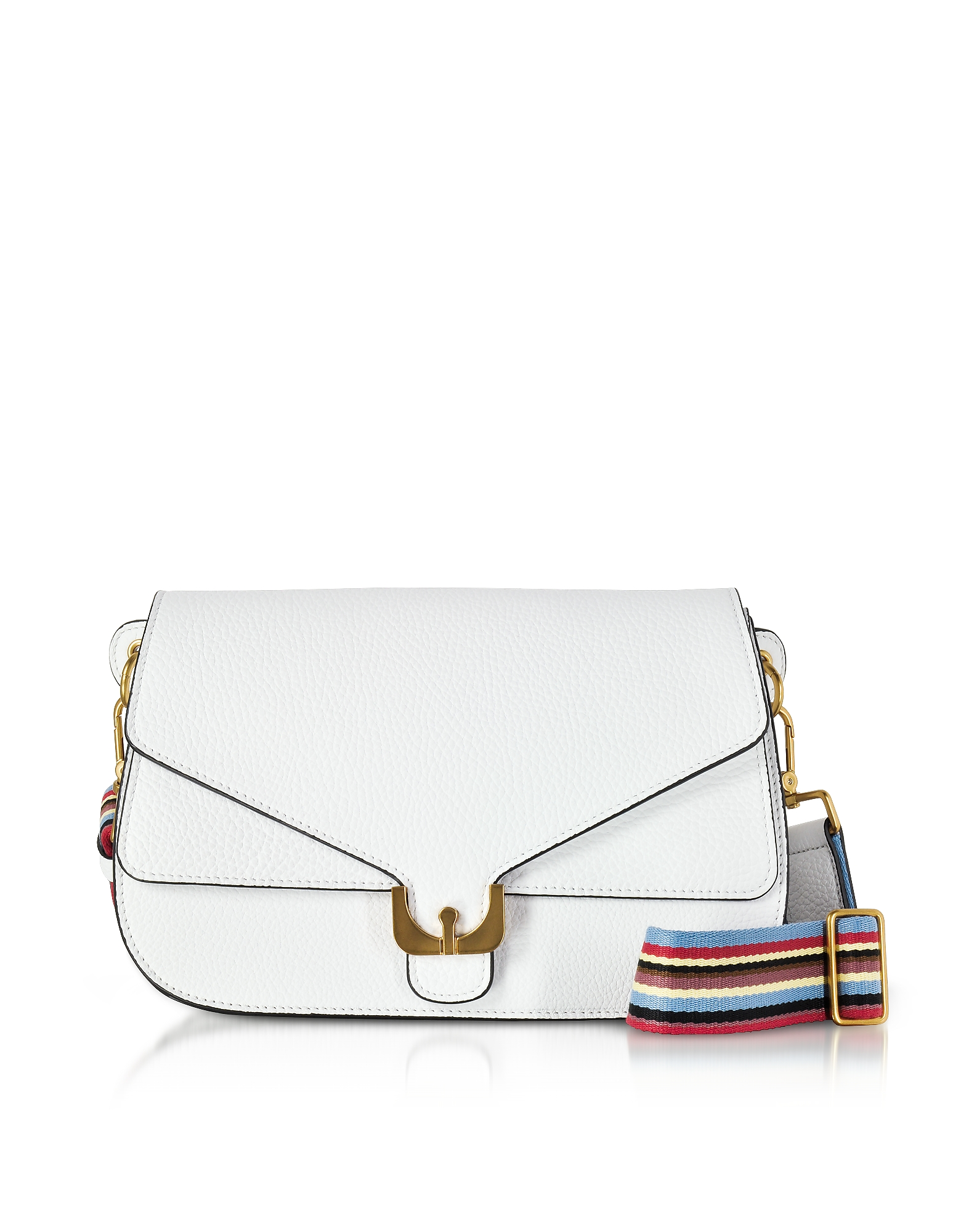 Coccinelle Handbags, White Pebbled Leather Ambrine Rainbow Shoulder Bag