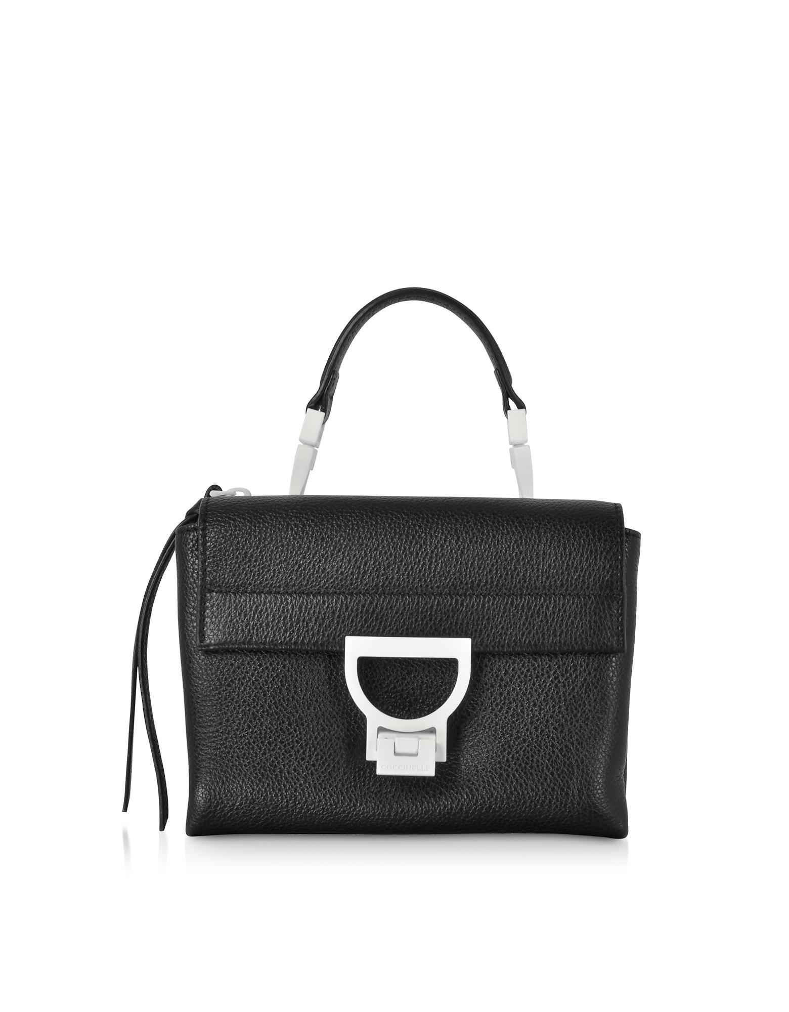 Arlettis Sporty Black Leather Shoulder Bag