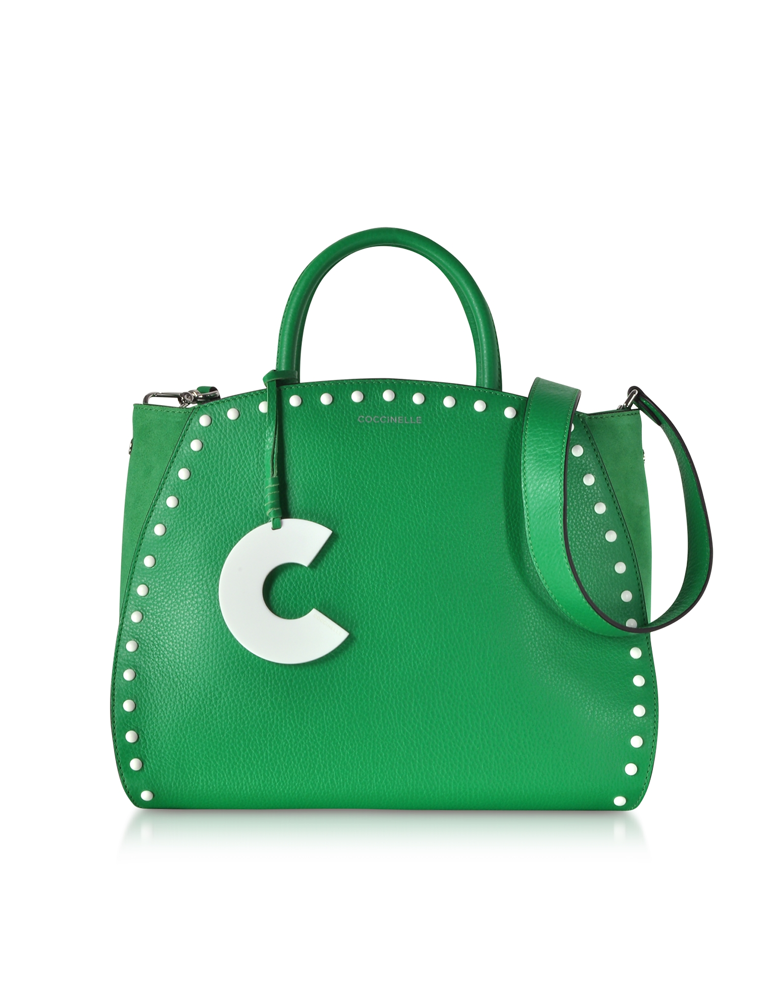 Concrete Studs Top Handle Leather Tote Bag