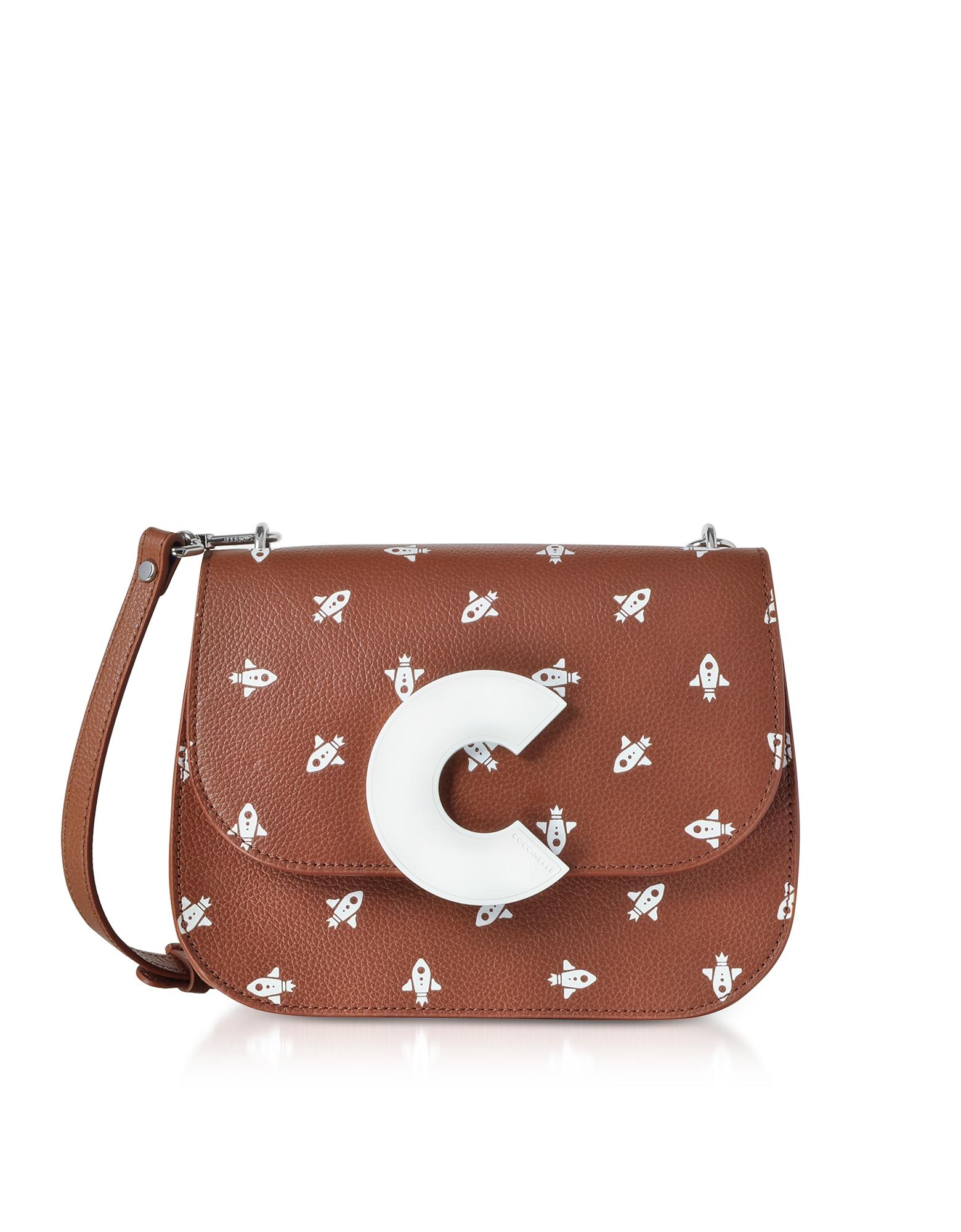 Coccinelle Handbags, Craquante Razzo Printed Leather Shoulder Bag