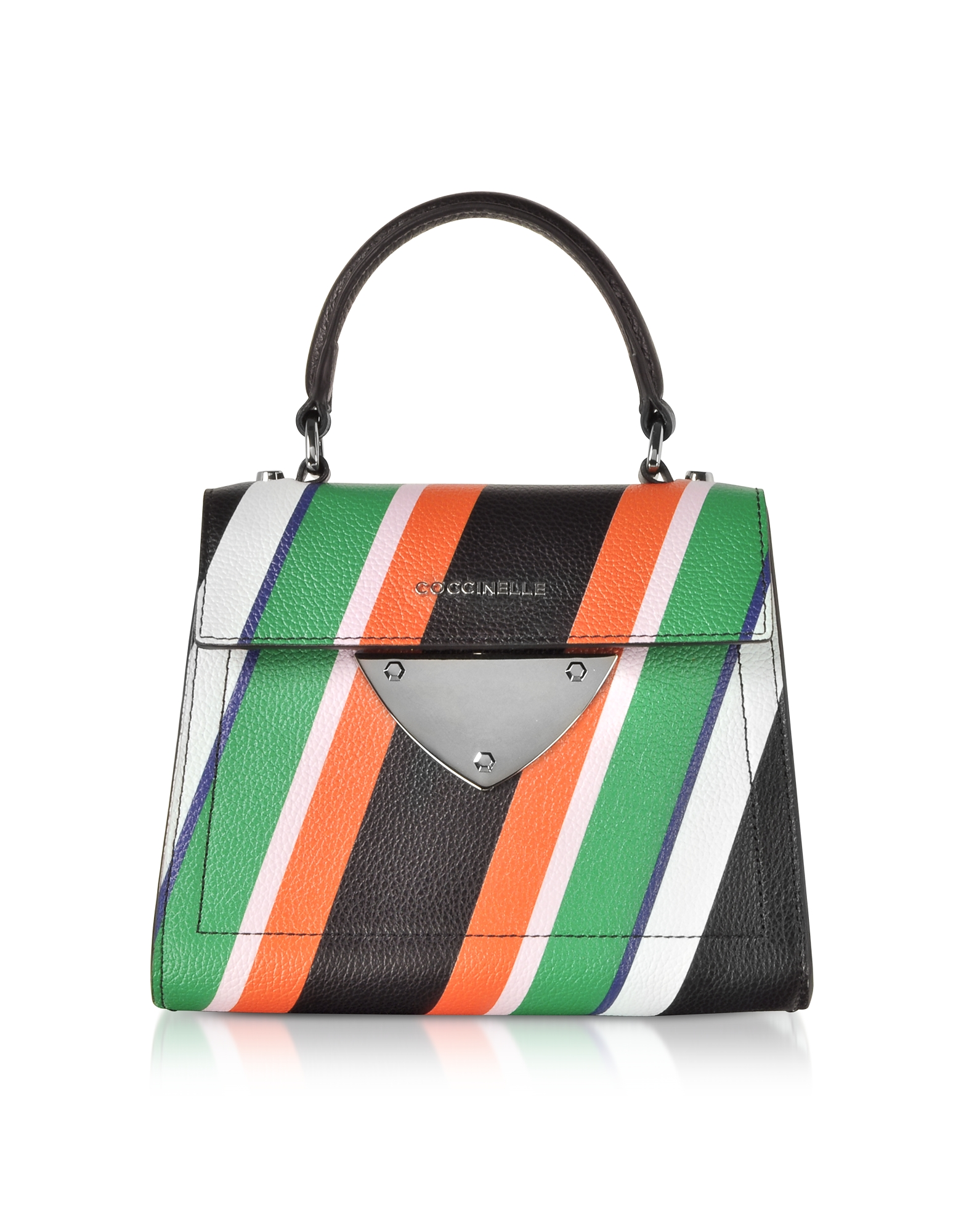 Coccinelle Handbags, B14 Stripes Printed Leather Satchel Bag