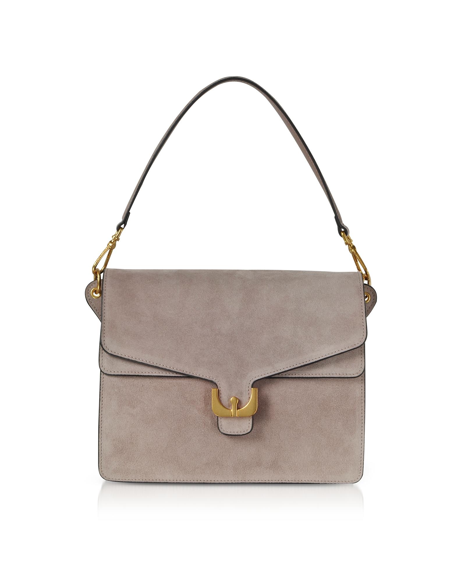 Ambrine Peony Pink Suede Shoulder Bag