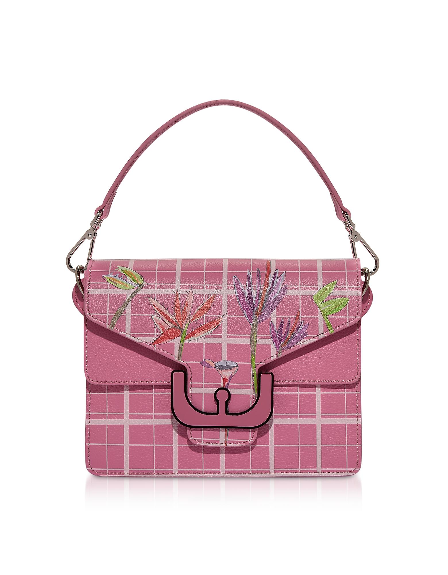 Ambrine Flower Print Leather Shoulder Bag