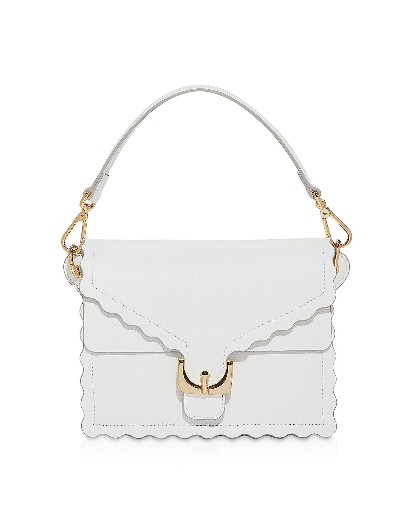 Ambrine Merletto White Leather Shoulder Bag