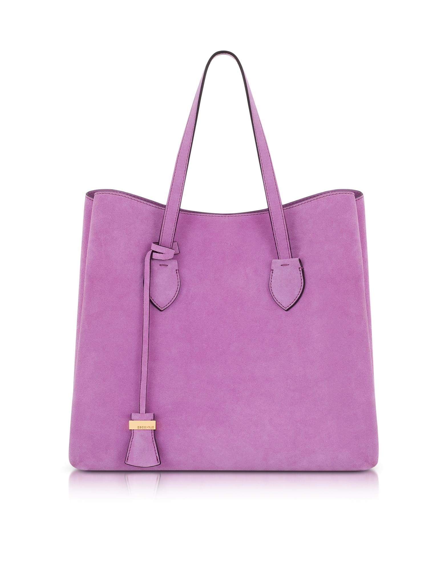 Coccinelle Handbags, Celene Orchid Suede Tote Bag