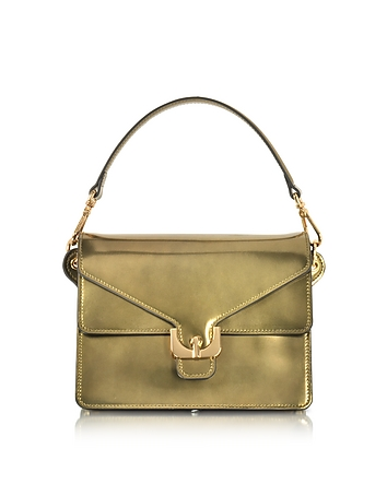 Ambrine Lux Gold Laminated Leather Satchel Bag