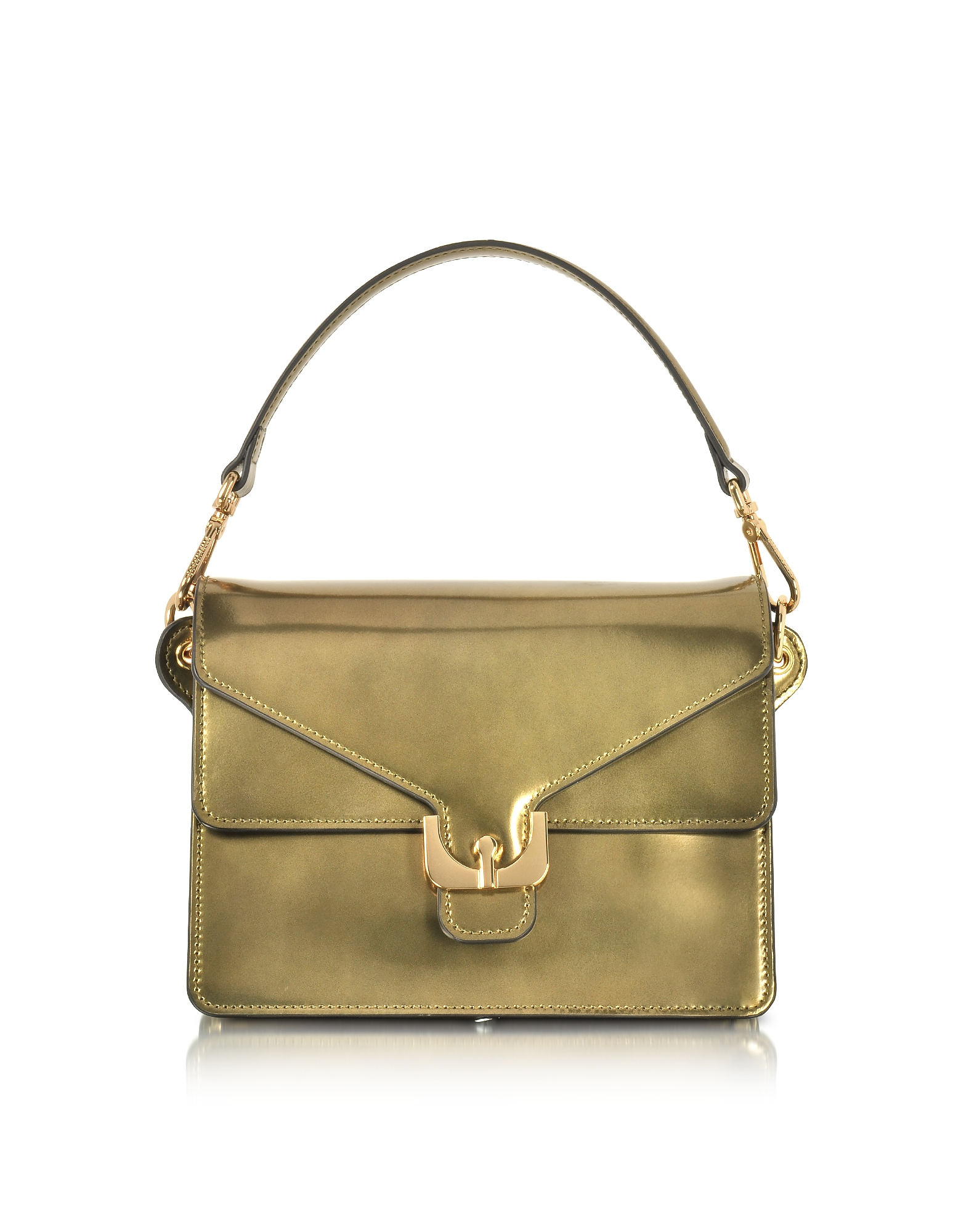 Coccinelle Handbags, Ambrine Lux Gold Laminated Leather Satchel Bag