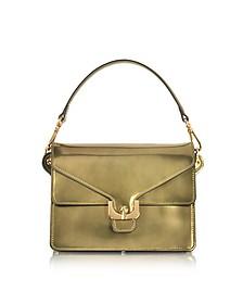 Ambrine Lux Gold Laminated Leather Satchel Bag  - Coccinelle