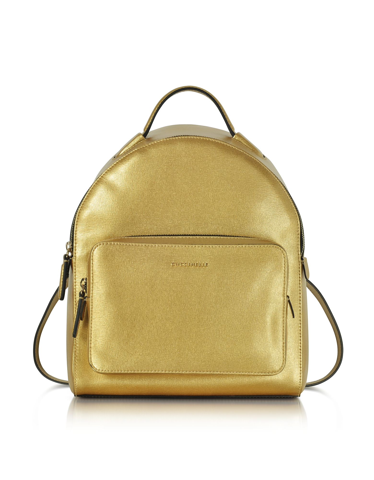 Coccinelle Handbags, Clementine Golden Saffiano Leather Backpack