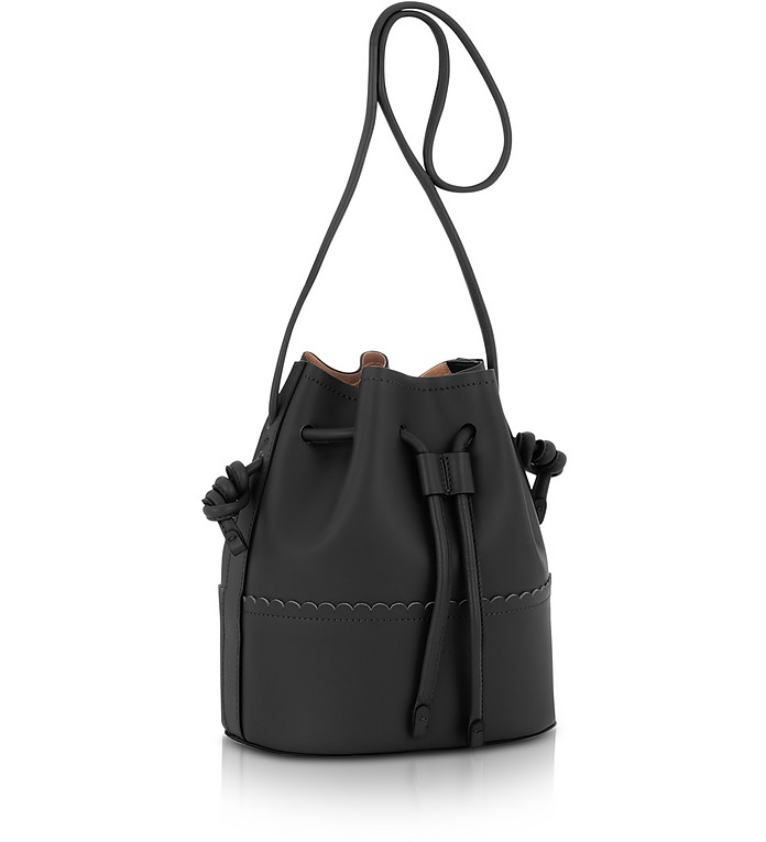 coccinelle black matilde medium leather bucket bag at forzieri. Black Bedroom Furniture Sets. Home Design Ideas