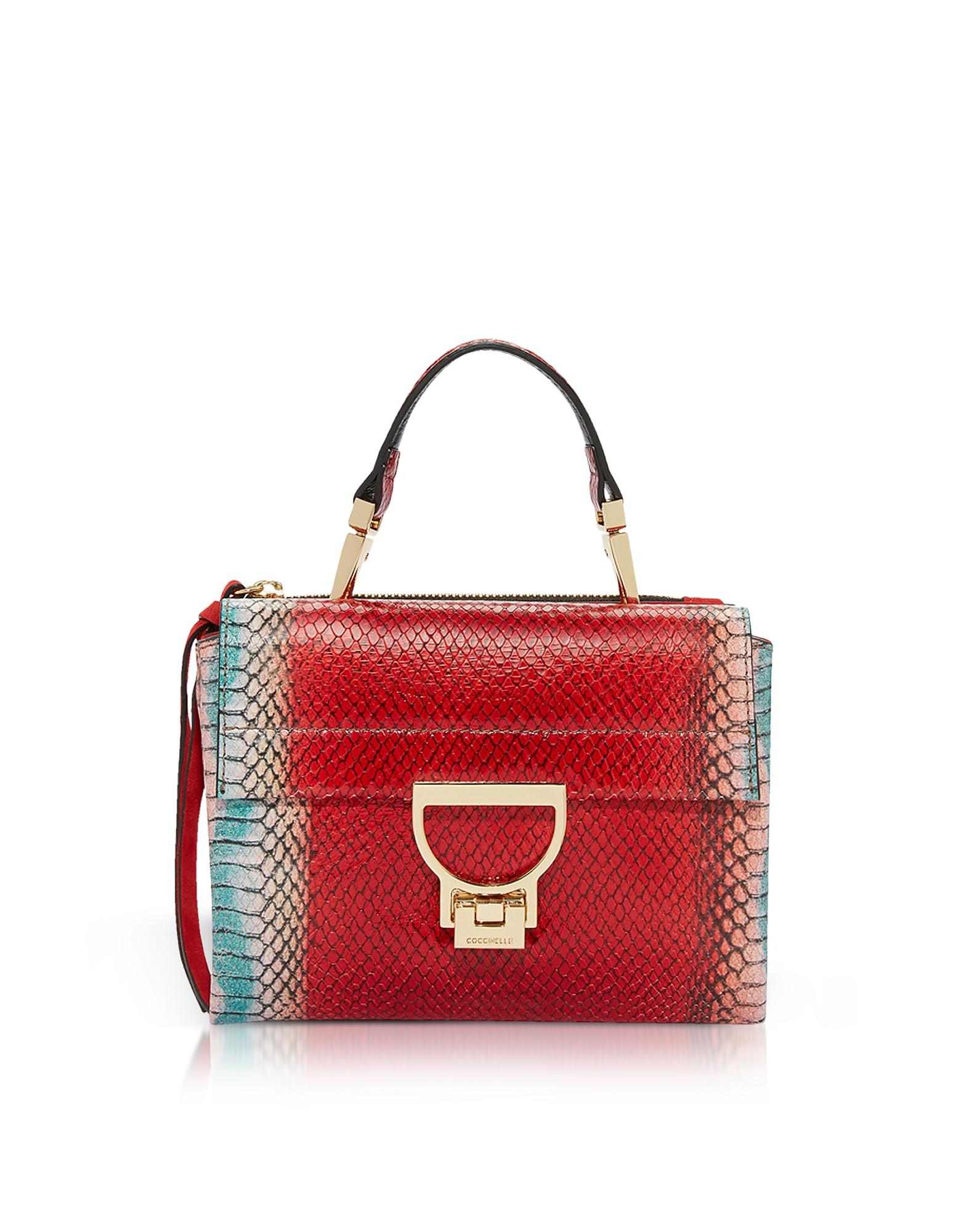 Arlettis Red Reptile Printed Leather Shoulder Bag