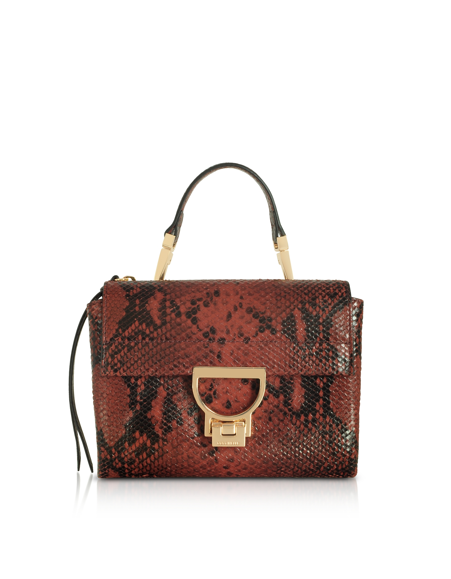 COCCINELLE ARLETTIS MINI BURGUNDY REPTILE PRINTED LEATHER SHOULDER BAG