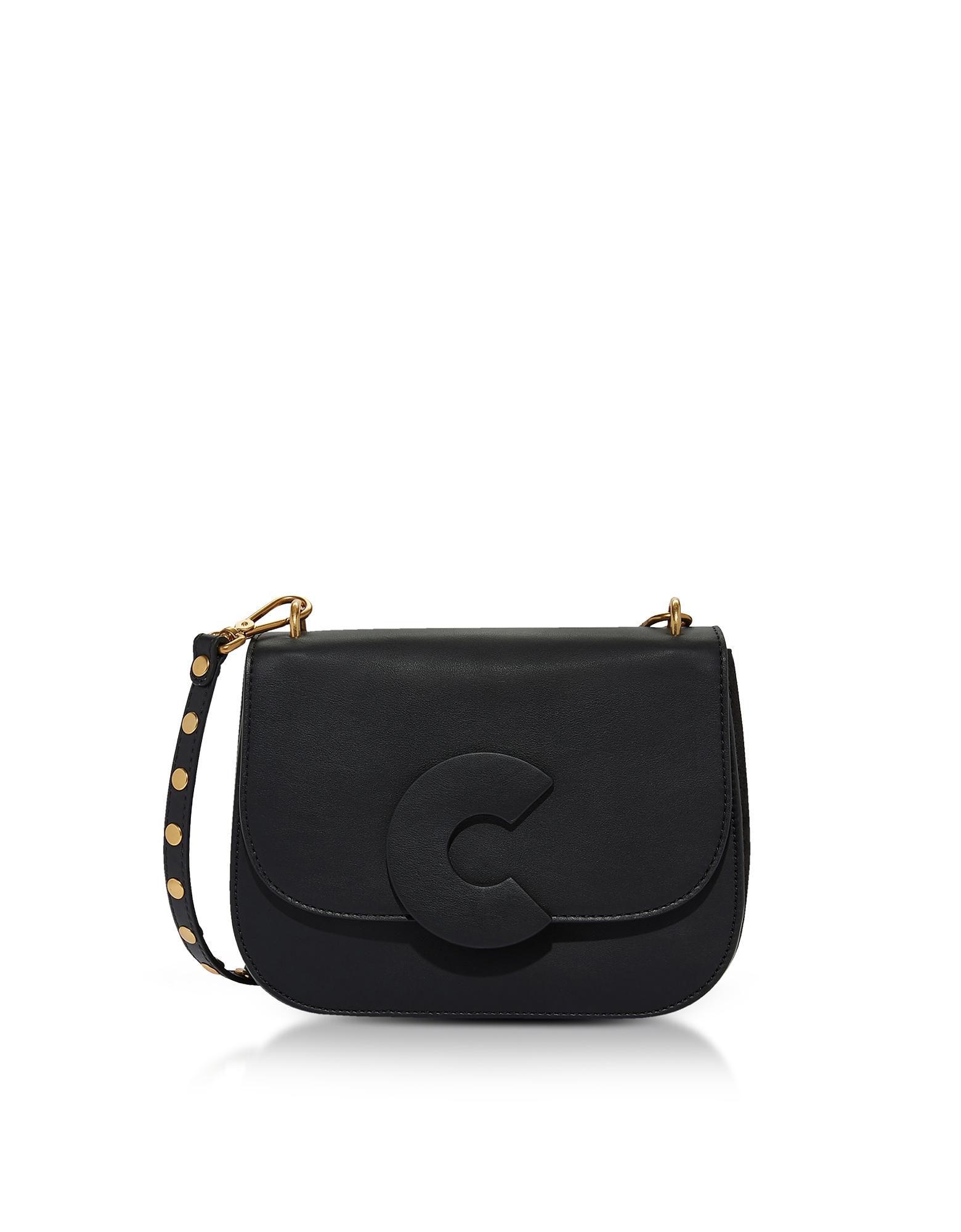 Image of Coccinelle Designer Handbags, Craquante Rock Medium Shoulder Bag w/Studded Shoulder Strap