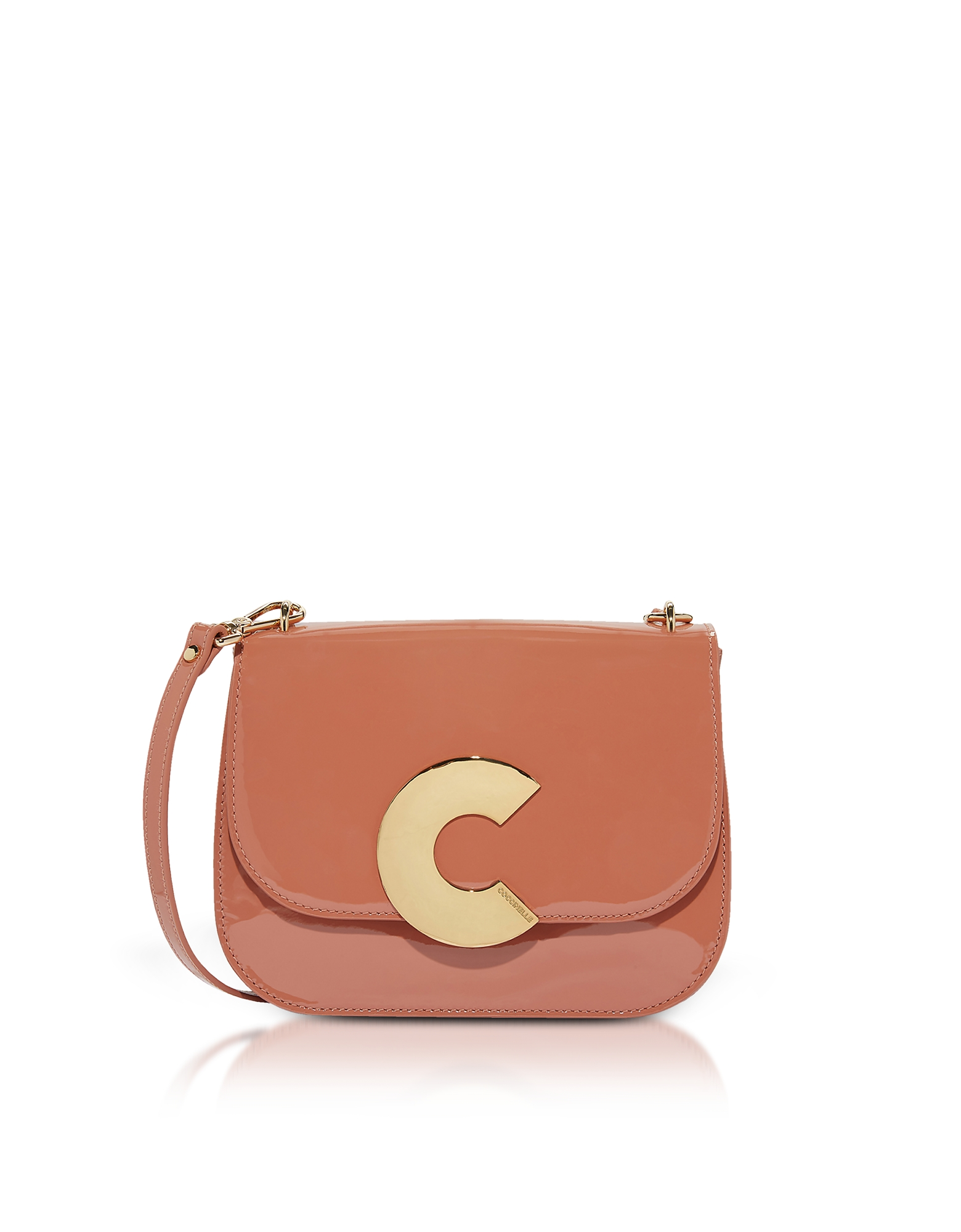 Image of Coccinelle Designer Handbags, Craquante Rock Medium Patent Leather Shoulder Bag