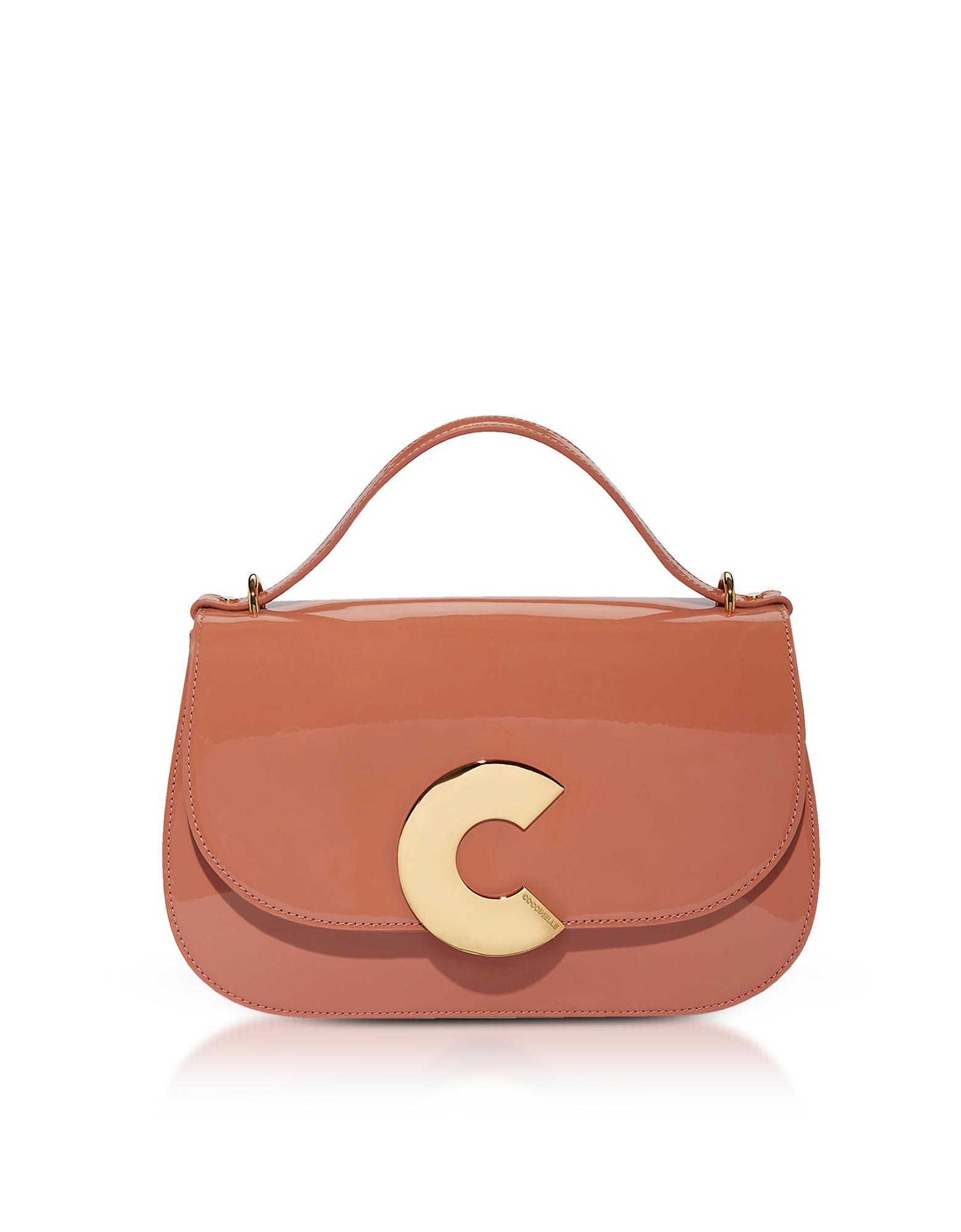 Image of Coccinelle Designer Handbags, Craquante Patent Maxi Leather Satchel Bag