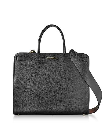 Clelia Black Leather Tote Bag