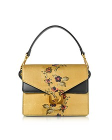Ambrine Exotic Golden Lizard Printed Leather Satchel Bag - Coccinelle
