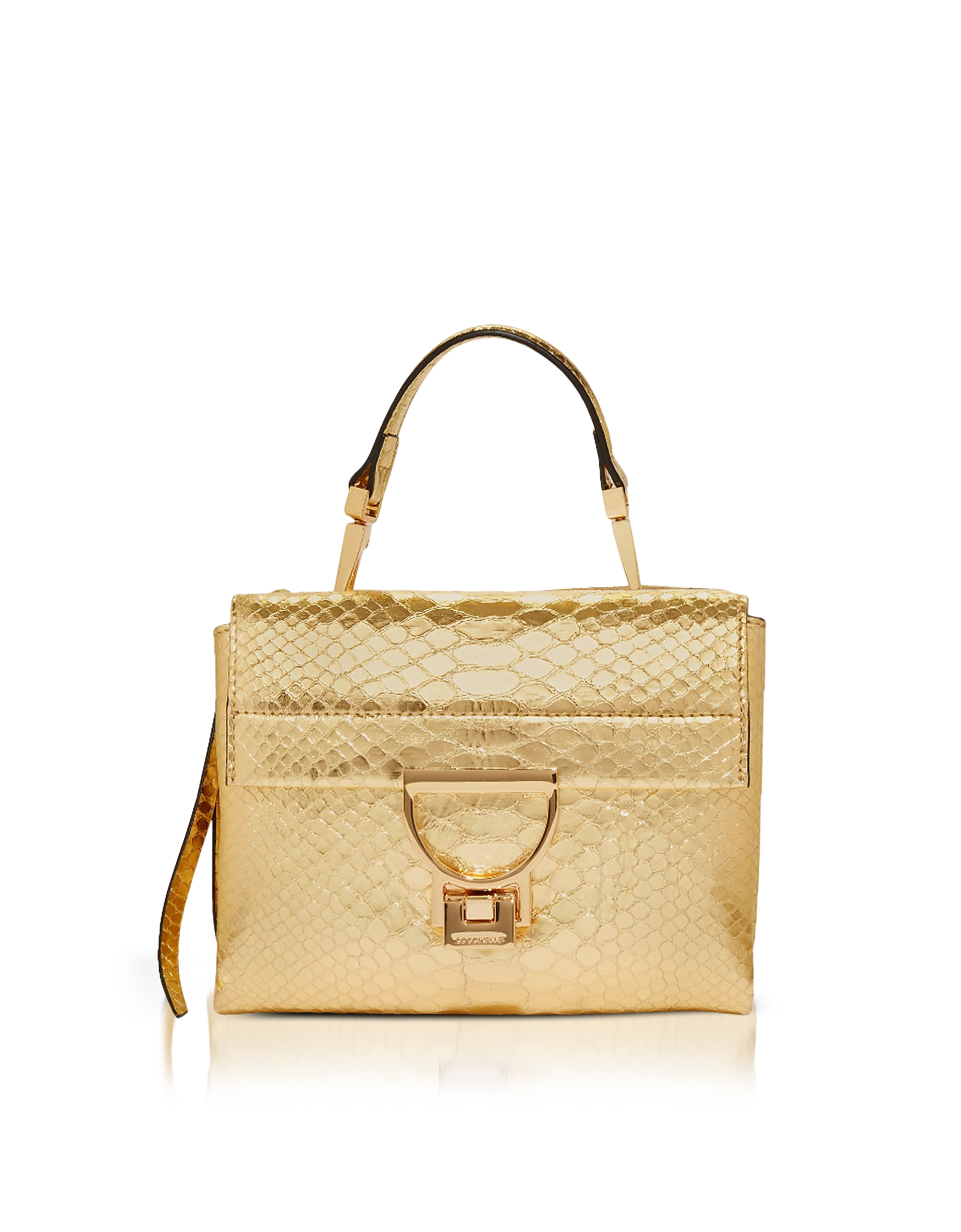 Arlettis Metallic Python Leather Mini Bag w/Shoulder Strap. Arlettis Leather Mini Bag crafted in metallic python leather, has a fun 70s vibe that will lend a refined vibrancy to evening and special occasions. Featuring flap and lever fastening, detachable top handle, detachable shoulder strap, front compartment with flap closure, external back zip pocket with external side snap close detail, signature detail on back and gold tone hardware. Signature dust bag included.