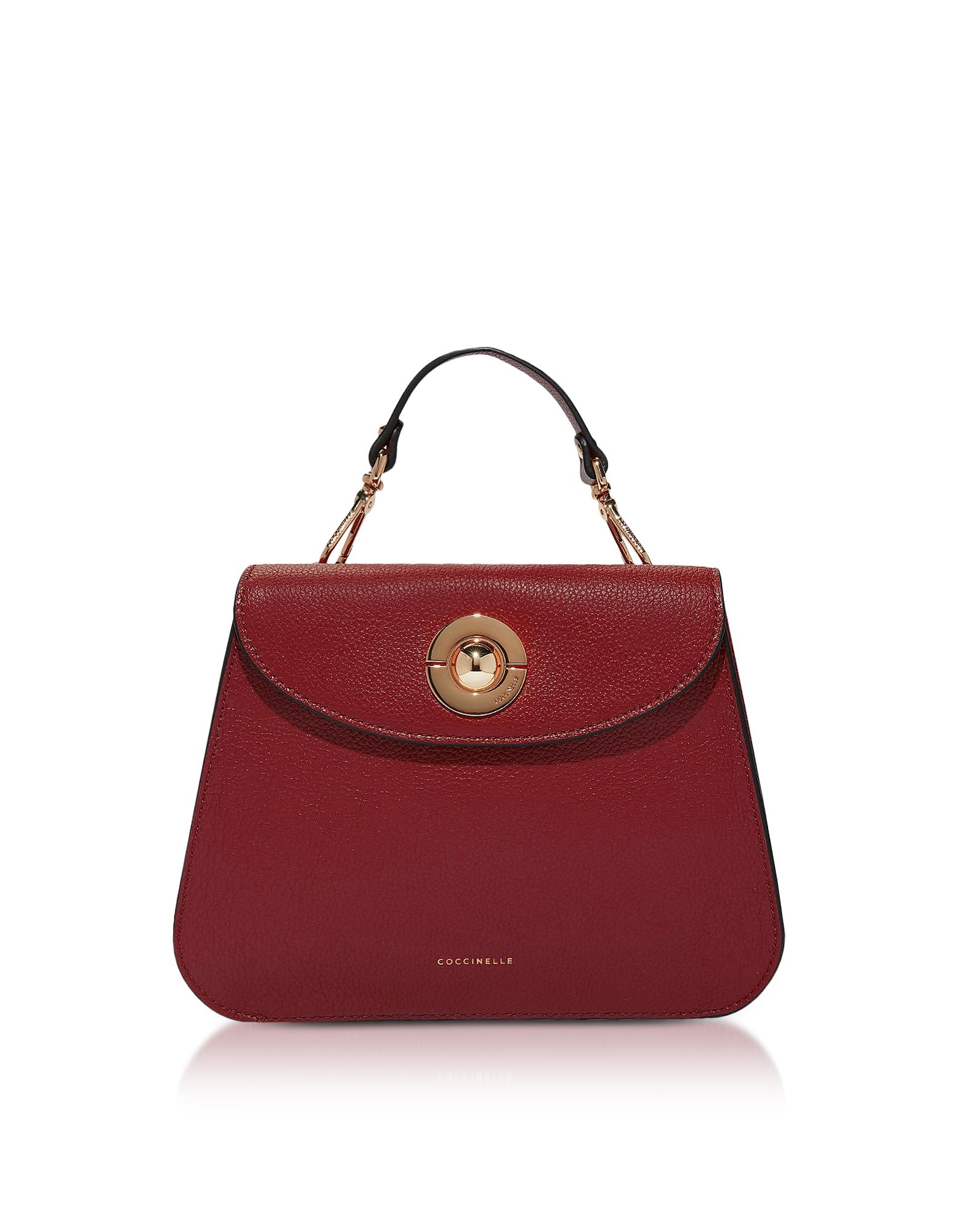 Coccinelle Handbags, Jalouse Grape Leather Flat Shoulder Bag