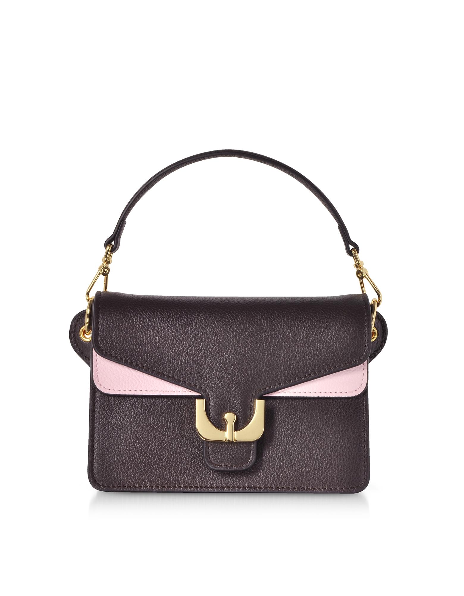 Ambrine Soft Color Block Grained Leather Mini Shoulder Bag