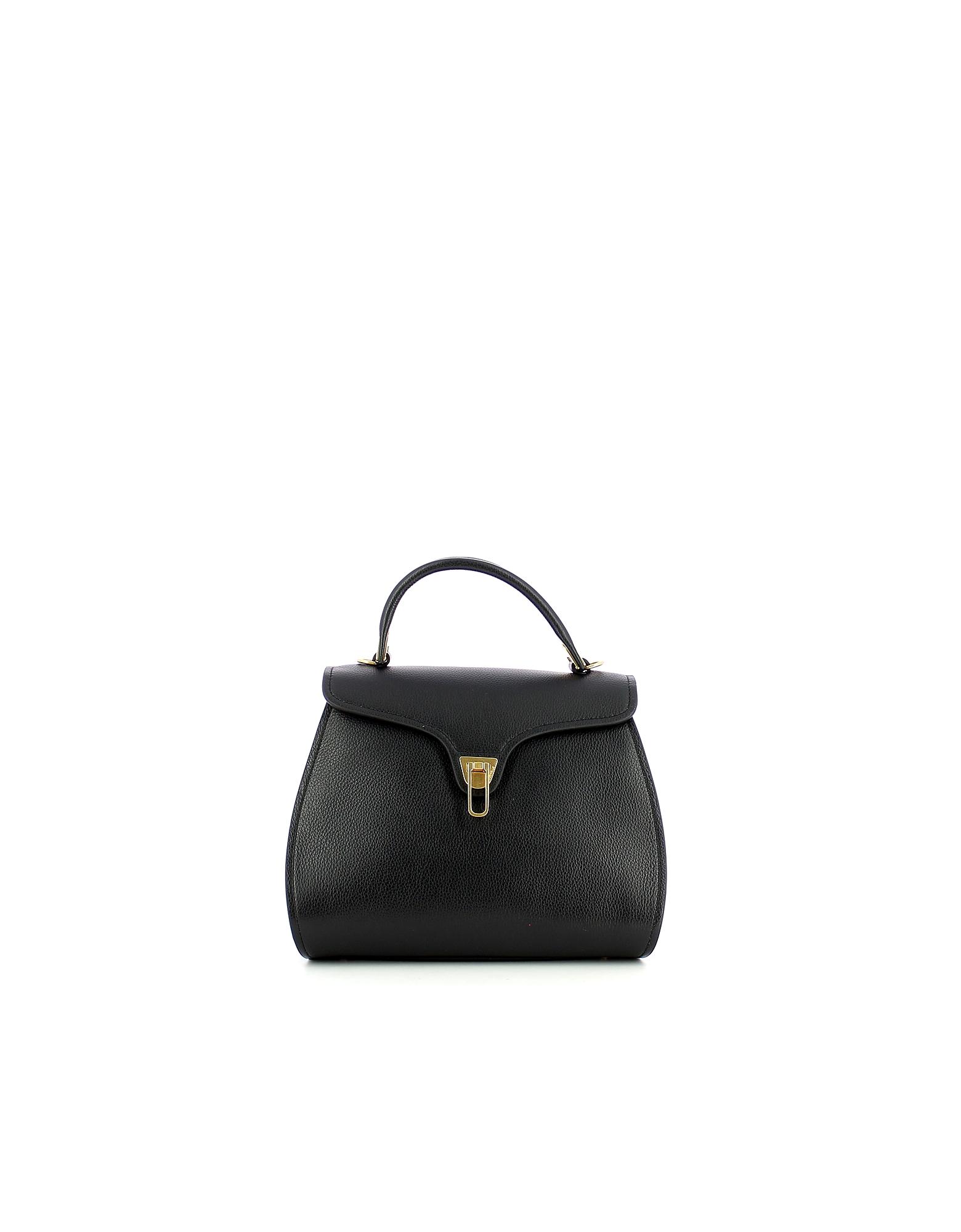 Coccinelle Designer Handbags, Black Marvin Medium Top Handle Satchel Bag