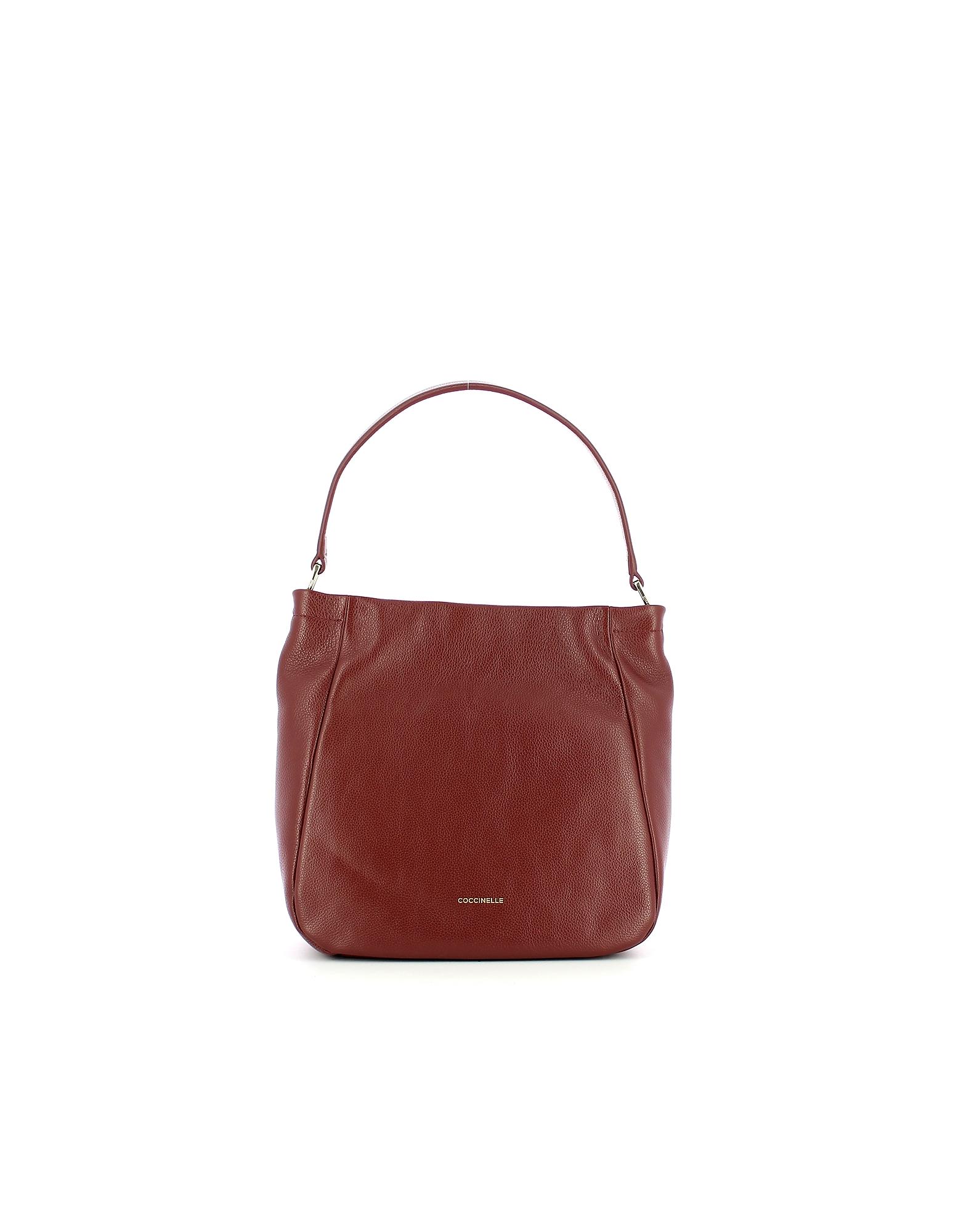 Coccinelle Designer Handbags, Dark Red Rendez-Vous Hobo Bag