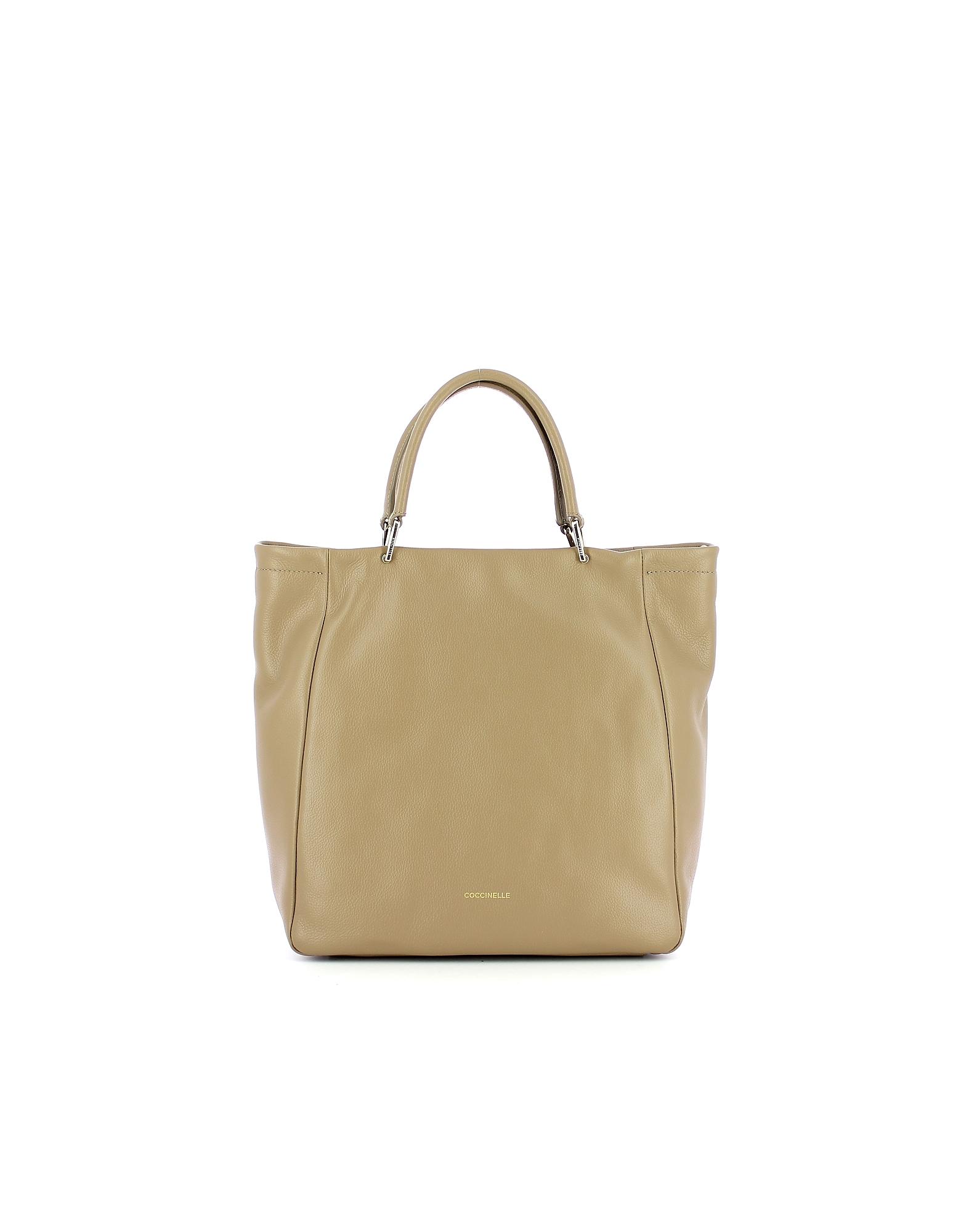 Coccinelle Designer Handbags, Beige Rendez-Vous Tote Bag