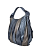 Raquel - Blue & Taupe Leather Hobo Bag - Coccinelle