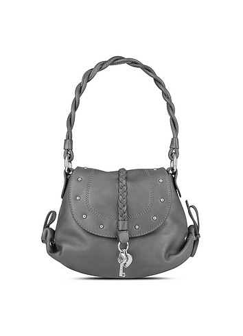 Coccinelle Small Metal - Metallic Gray Leather Studded Evening Bag :  stylish italian handbag women womens