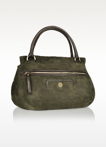 Monique Suede - Double Handle Satchel Bag - Coccinelle