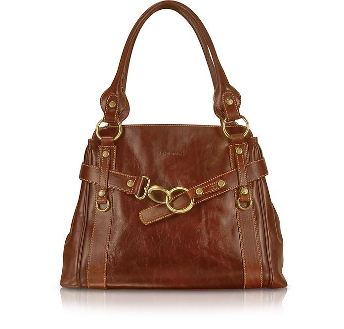 Handmade Brown Genuine Leather Tote Bag - Chiarugi