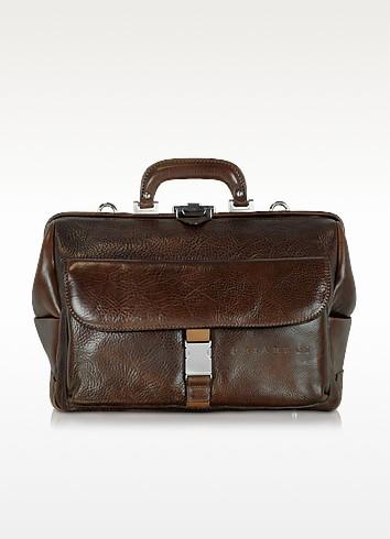 Large Brown Hammered Leather Doctor Bag - Chiarugi