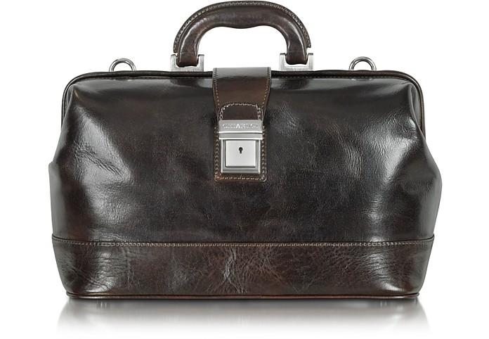 Medium Dark Brown Leather Doctor Bag - Chiarugi