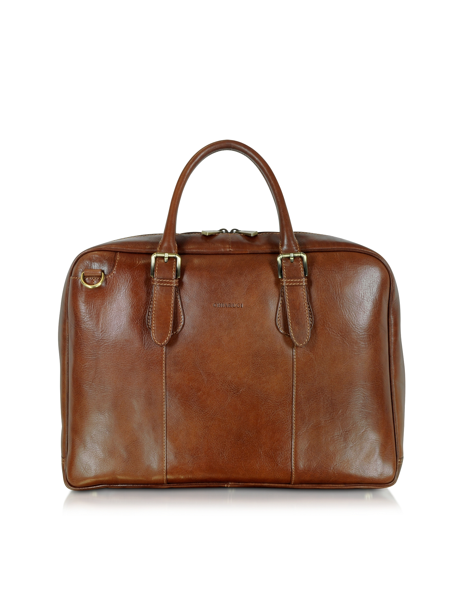 Chiarugi Briefcases, Brown Double Handle Leather Briefcase