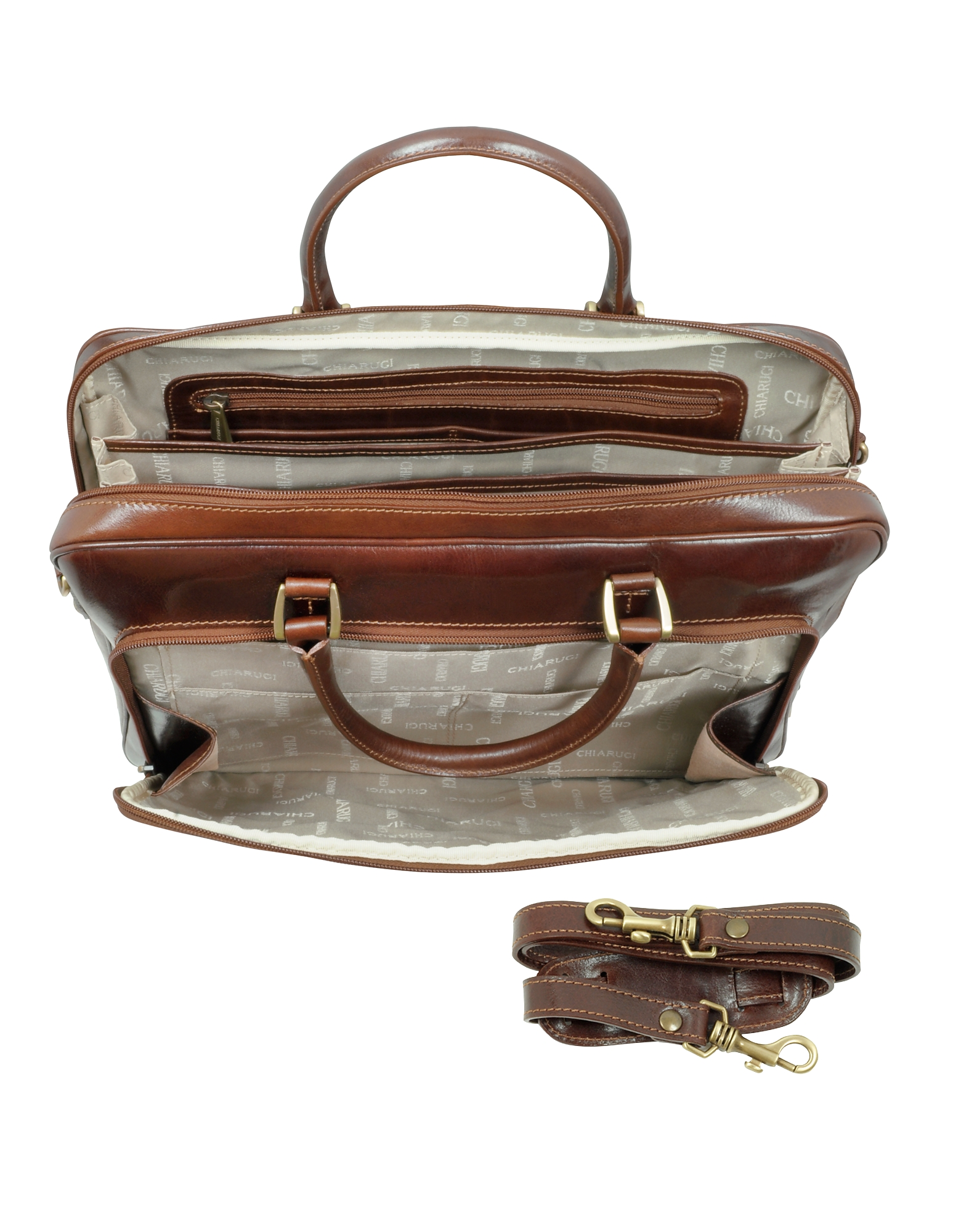 Dark Brown Double Handle Leather Zip Briefcase от Forzieri.com INT