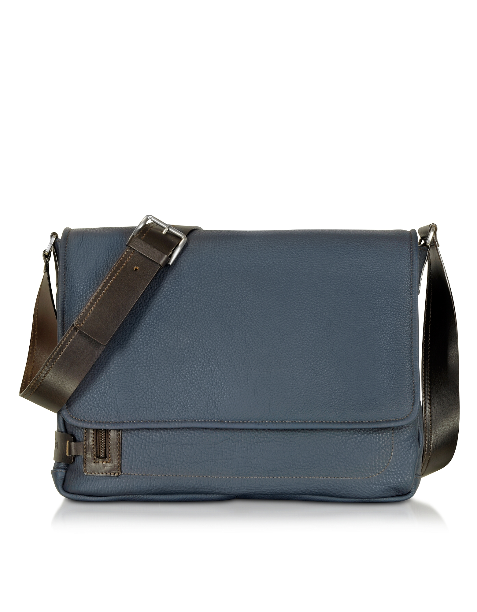 Midnight Blue Leather Messenger