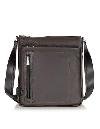 Dark Brown Leather Vertical Crossbody Bag