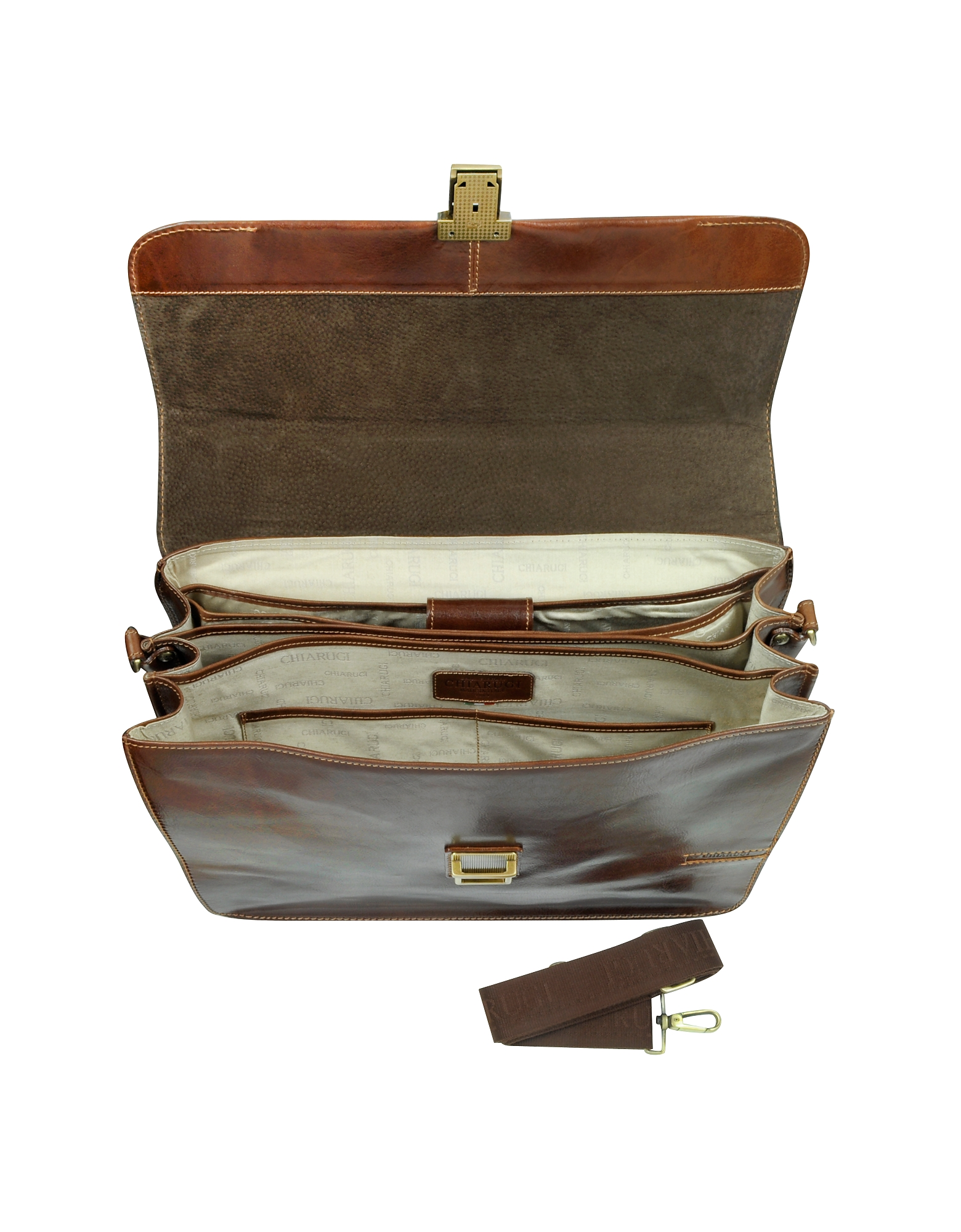 Large Brown Leather Briefcase от Forzieri.com INT