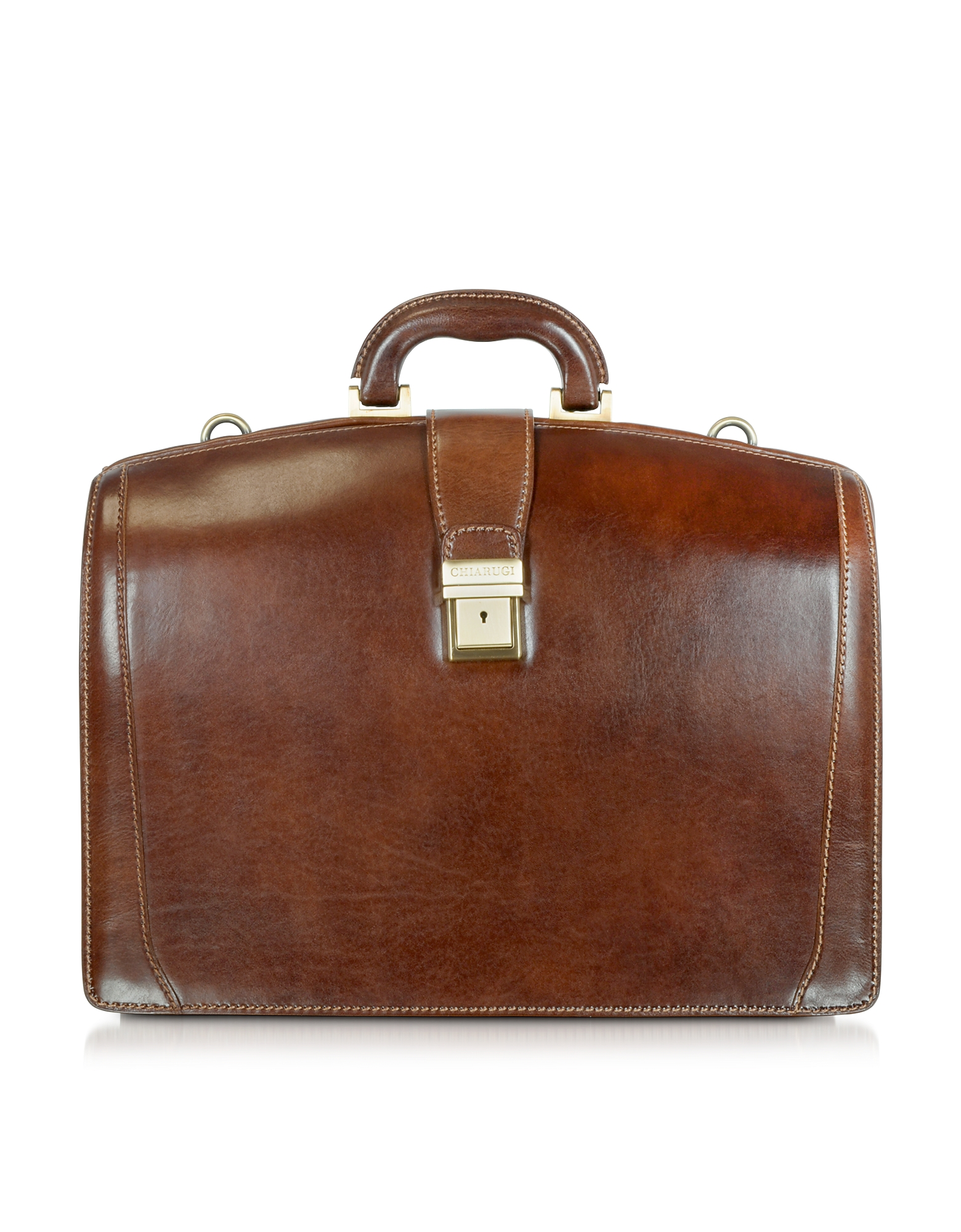 Brown Leather Buckled Diplomatic Briefcase