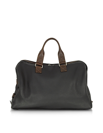 Chiarugi - Black and Brown Genuine Leather Weekender