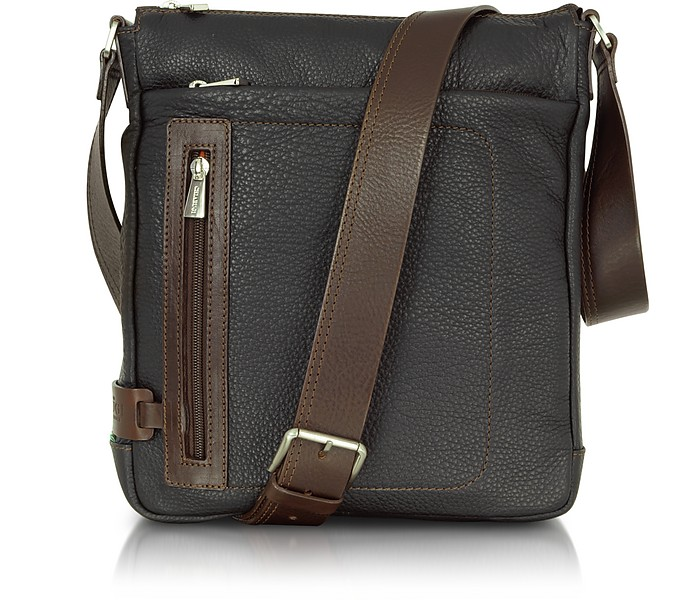 Black and Brown Leather Vertical Messenger - Chiarugi