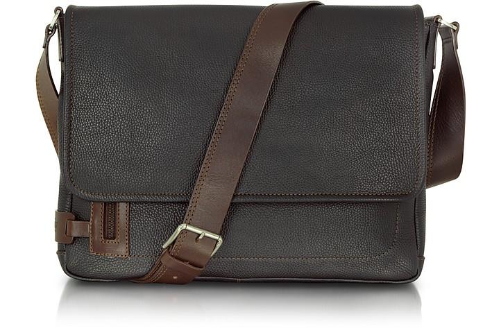 Black Leather Messenger Bag - Chiarugi