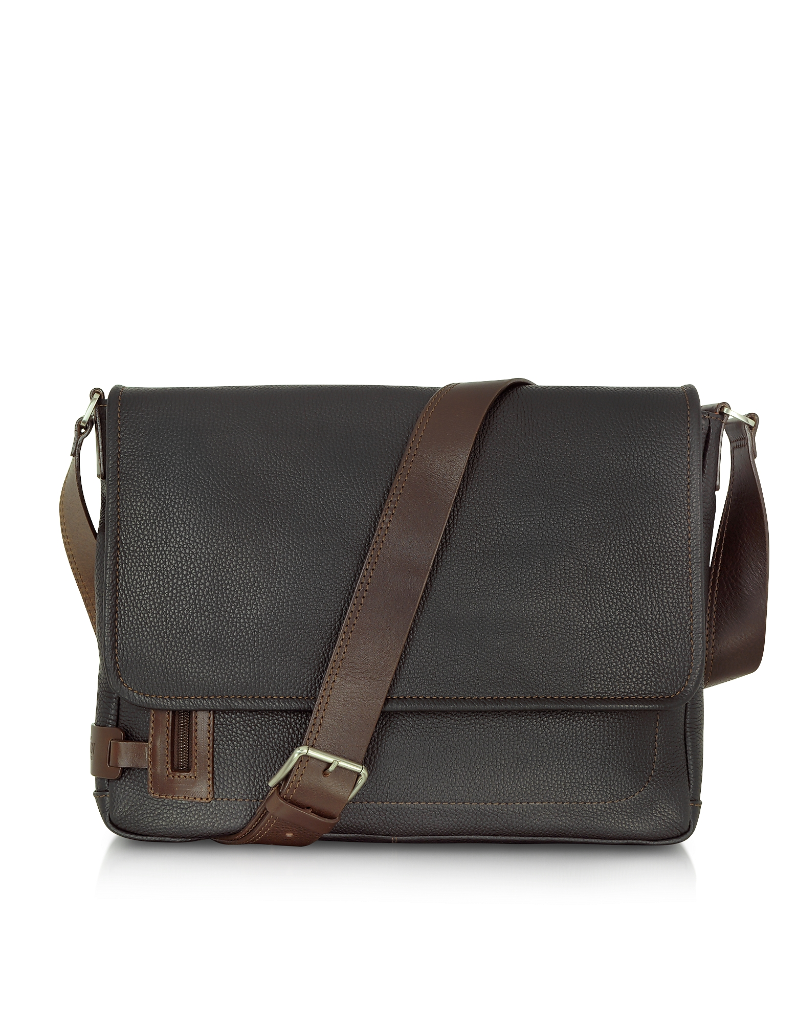 Chiarugi Travel Bags, Black Leather Messenger Bag