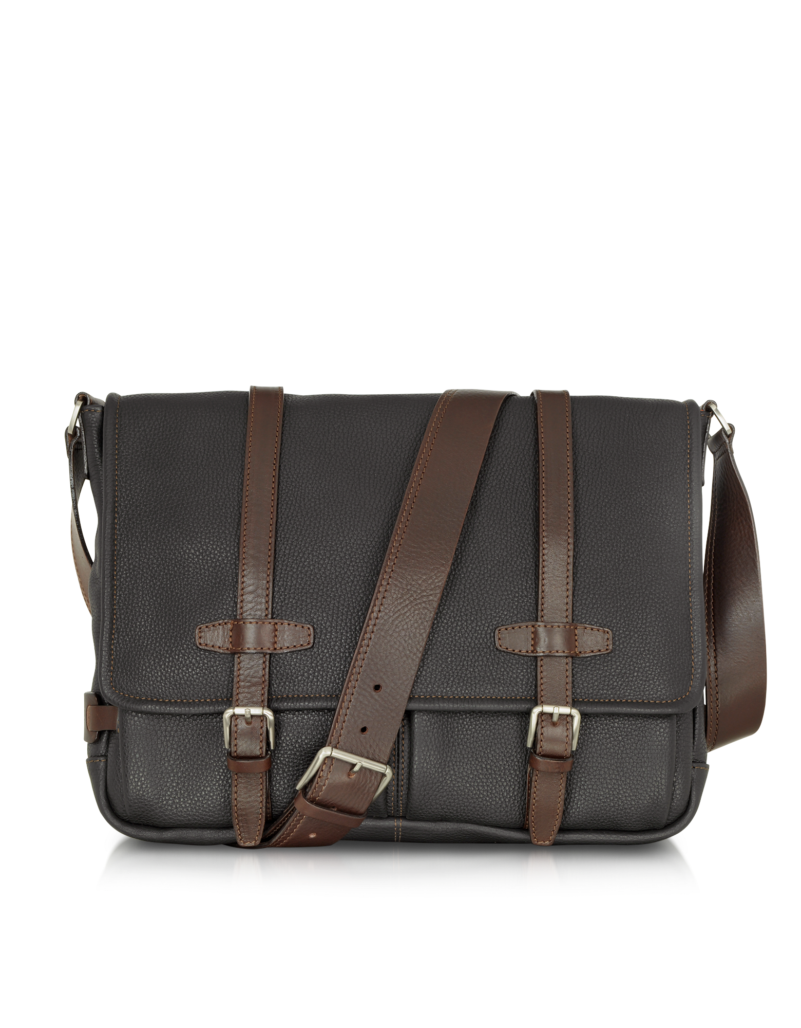 Image of Black and Brown Leather Messenger