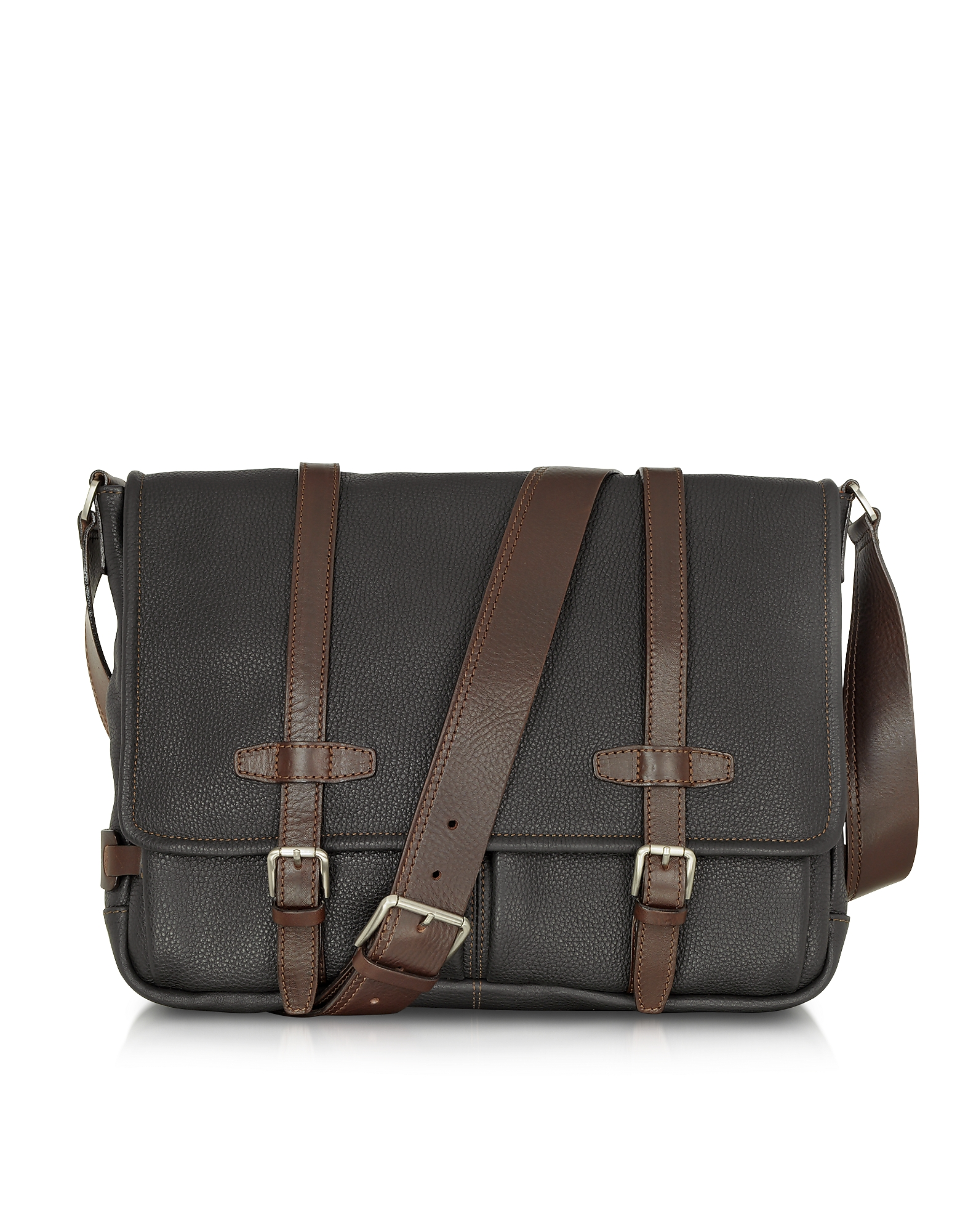 Chiarugi Black and Brown Leather Messenger