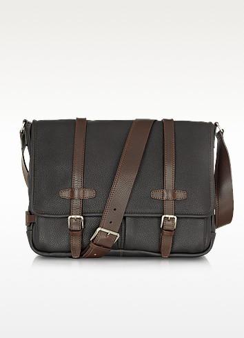 Black and Brown Leather Messenger - Chiarugi