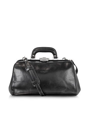Black Leather Handmade Professional Doctor Bag