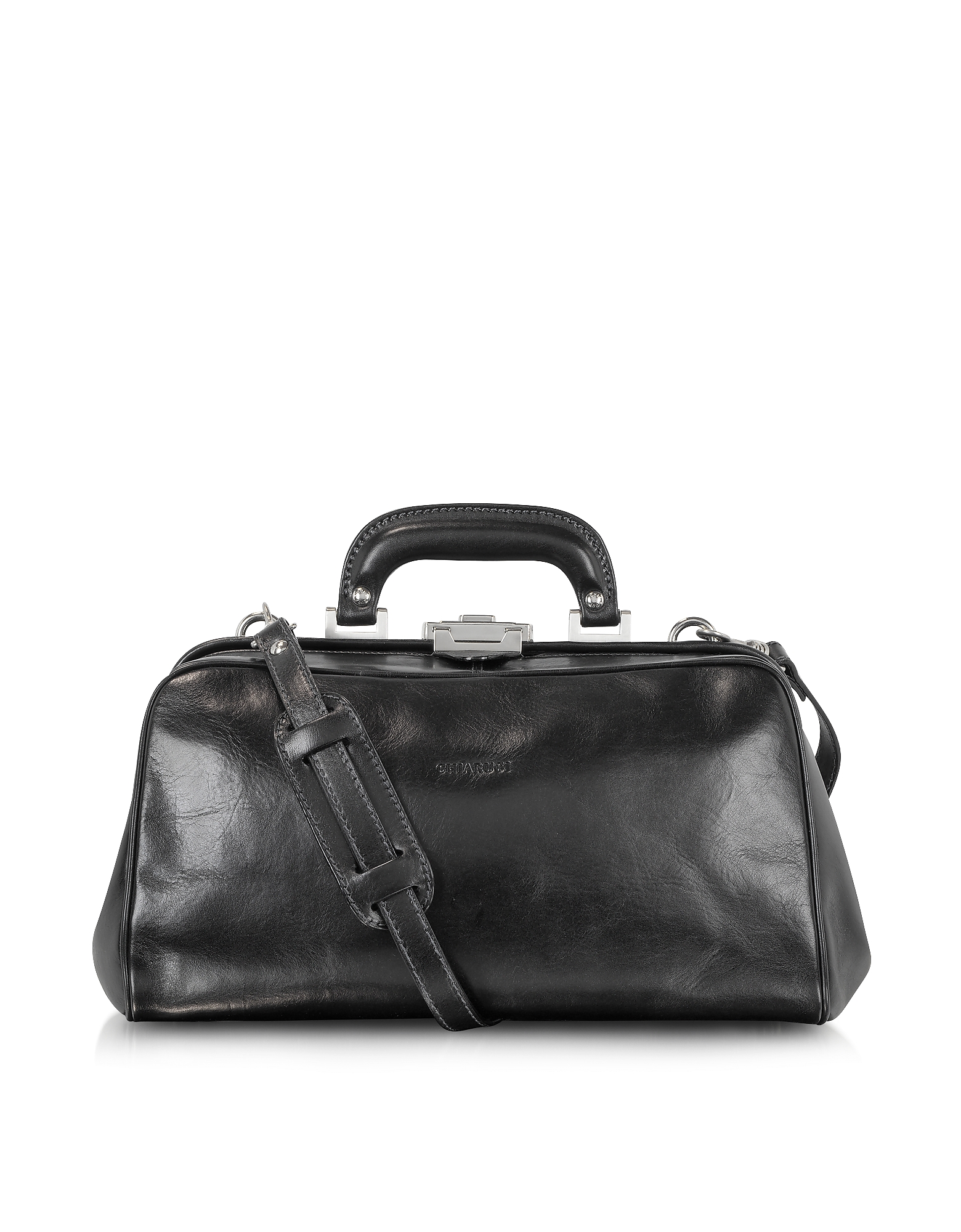 Chiarugi Briefcases, Black Leather Handmade Professional Doctor Bag