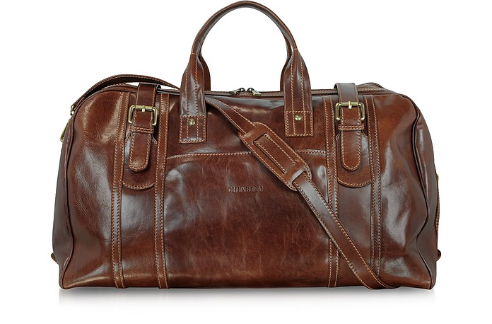 Large Brown Italian Leather Holdall Bag Travel Bag - Chiarugi