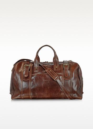 Large Brown Italian Leather Holdall Bag Travel Bag - Chiarugi